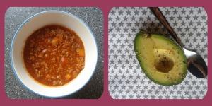 Rest Chili und eine halbe Avocado