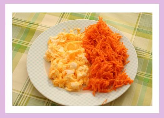 Rührei und der Rest vom Karottensalat.